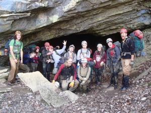 Mountain Alliance takes a break from their adventure at Worley's Cave in Tennessee.