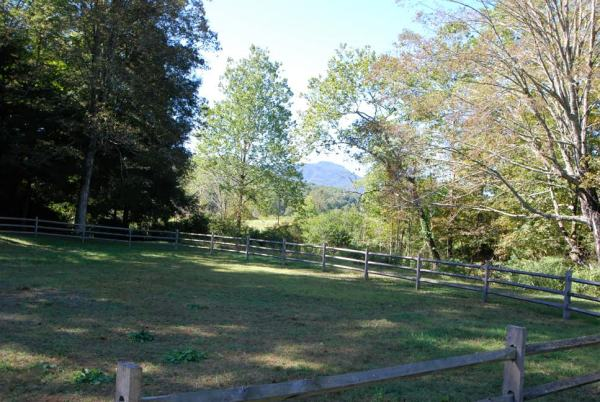 Seen along the planted allee to the river on the walk from the round house is the million dollar view of Grandfather Mountain.