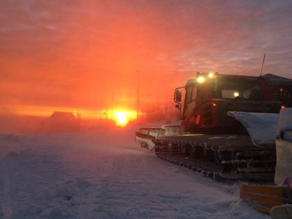 Beech Mountain Resort's grooming machines at work. Photo by Kristian Jackson