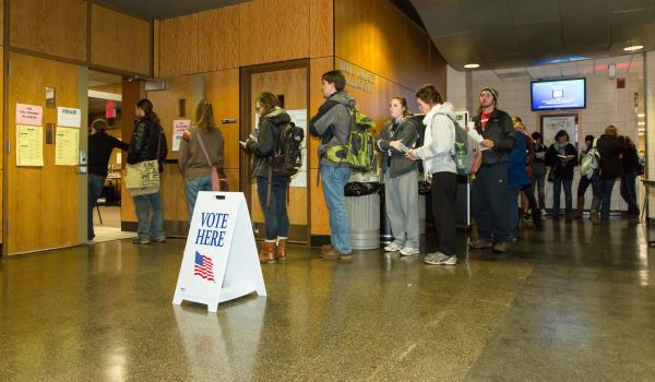 Appalachian State University last day of early voting draws long lines.