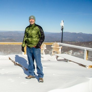 Bald Guy Brew owner Don Cox standing near the new shop at the 5506' at Beech Mountain Resort. Photo by Kristian Jackson