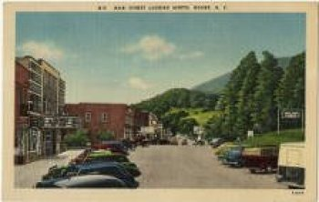 Main Street Looking North. Watauga Memory Postcards. Photo courtesy of Watauga County Library. Photo from (digitized) Images of North Carolina, Historic Boone exhibit. For more photos of Old Boone and Watauga County, go to www.digitalnc.org/exhibits/historic-boone or to http://digitalwatauga.omeka.net