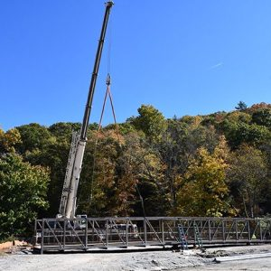 New Bridge Put in Place Along Middle Fork Greenway; Second Bridge Coming Next Week