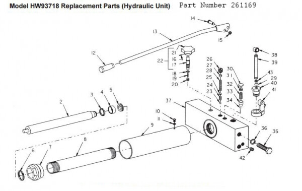 Hein Werner 2 Ton Floor Jack Parts Diagram