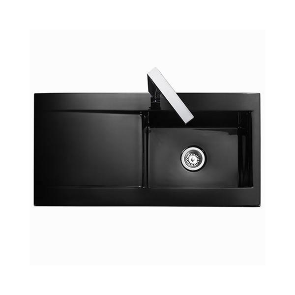 black sink kitchen floor mats sinks uk trade prices rangemaster nevada 1 0 bowl ceramic
