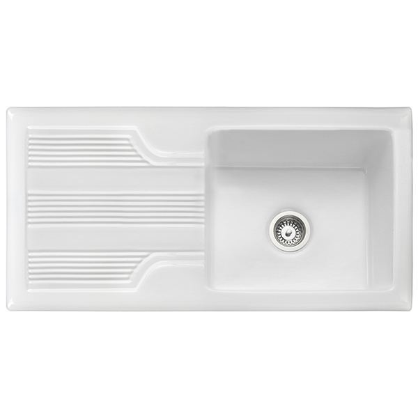 kitchen sink white hood fan sinks trade prices rangemaster portland 1 0 bowl ceramic