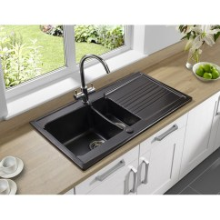 Ceramic Kitchen Sink Stainless Steel Garbage Can Astracast Equinox 1 5 Bowl Gloss Black In