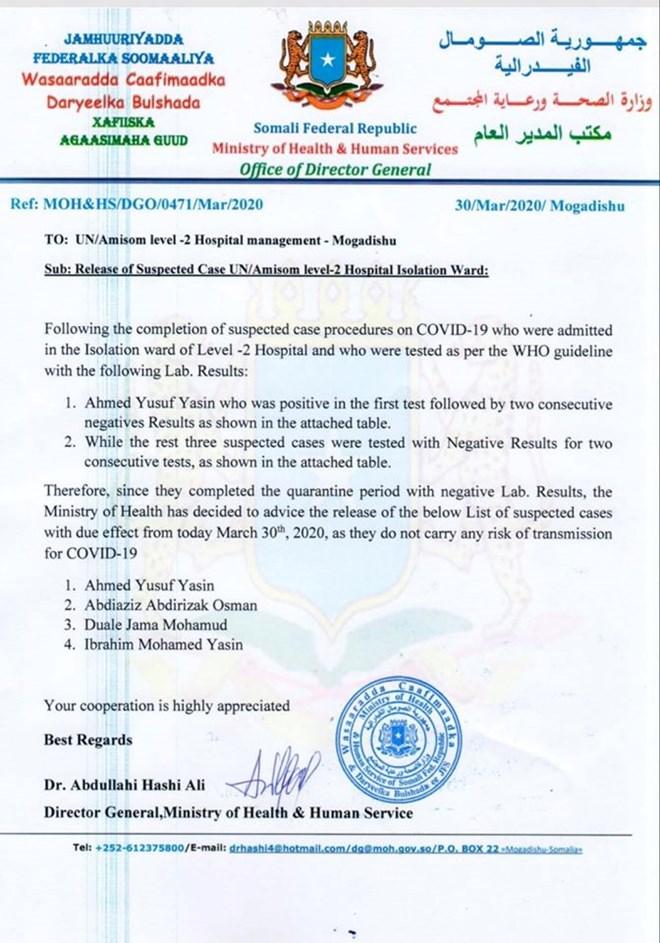 Somalia: Qof Hore Looga Helay coronavirus Oo Ka Bogsaday