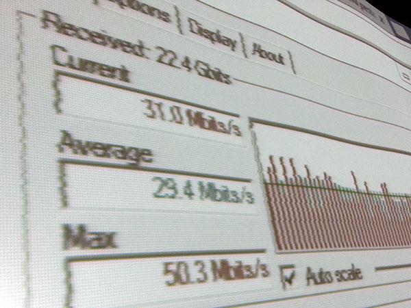 Prueba de velocidad de bajada usando FTP
