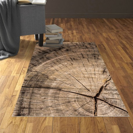 tapis vinyle rondin de bois