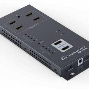 4K x 2K UltraHD (uHD) wall mountable HDMI 4x2 Matrix Splitter/Switch (2 outputs), 3D, HDMI v1.4 - Up to 3840 x 2160 Resolution