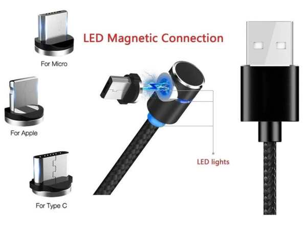 2 Meter Magnetic 3-in-1 90 Degree 5v,2.4A Fast Charging Cable for Micro-USB / Lightning & USB Type_C Connector Smartphones - Samsung / Hauwei / Apple / LG / Sony / Xiomi / Oppo / Nokia
