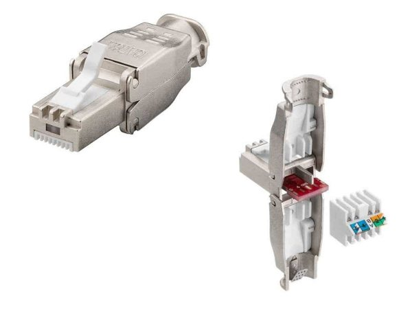 CAT7 Tool-Free Shielded 22-26AWG Modular RJ45 Connector for extremely wide/thick conductor Networking Cables