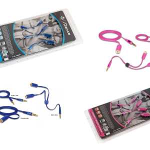 Idance Audio Survial Kit (Blue or Pink) - 1 Meter 3.5mm to 3.5mm audio Aux cable, 3.5mm Audio Splitter, 3.5mm Audio Extension cable