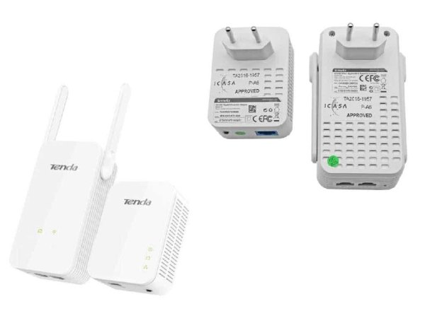 Tenda WIRELESS KIT - Wifi & 1Gbit/s Gigabit Ethernet Network over Powerline Adapters - Connect 3 Wired and Multiple Wifi Devices over existing electrical power cables
