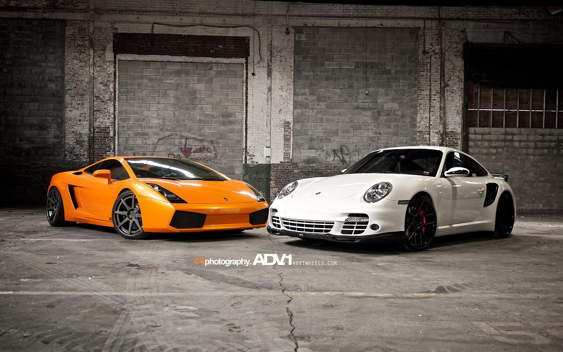 Tuning Car Iphone Wallpaper Lamborghini Gallardo And Porsche 997 Tt Wallpaper Hd Car