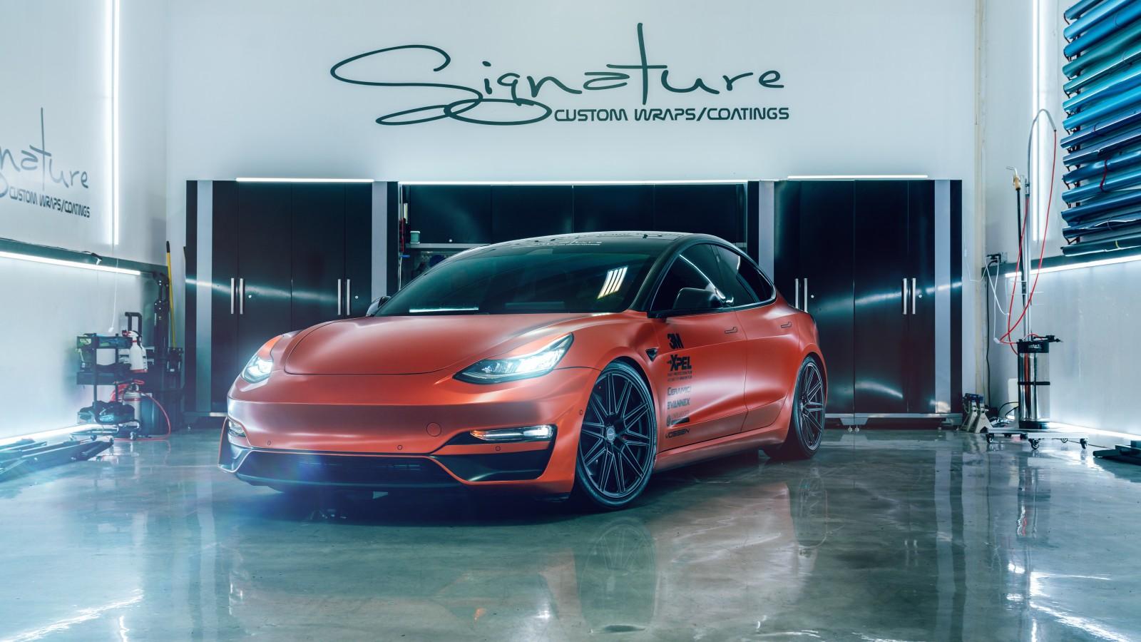 Car Wrap Images Wallpaper Tesla Model 3 Vossen Signature Orange 5k Wallpaper Hd