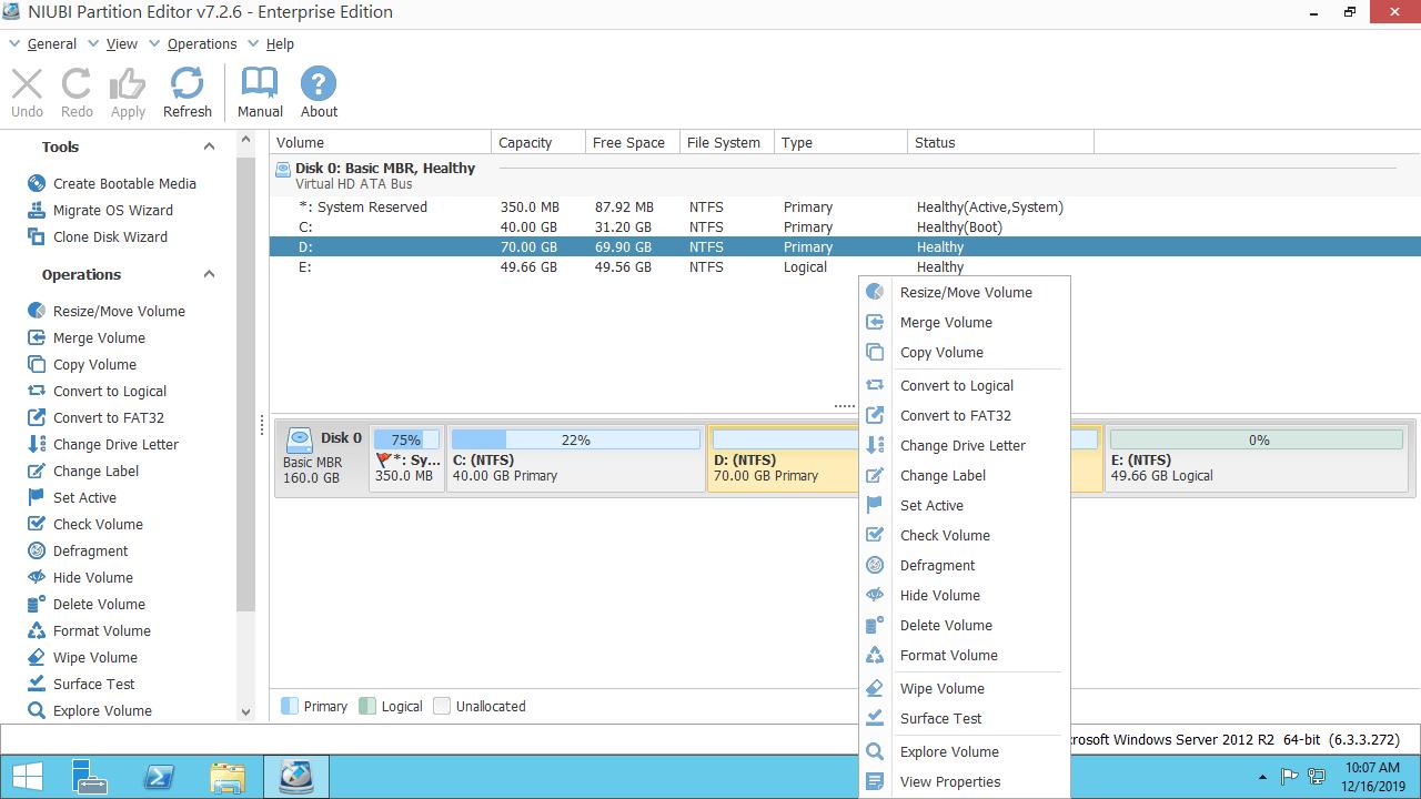 擴展虛擬磁盤分區Hyper-V vm Windows Server 2012.