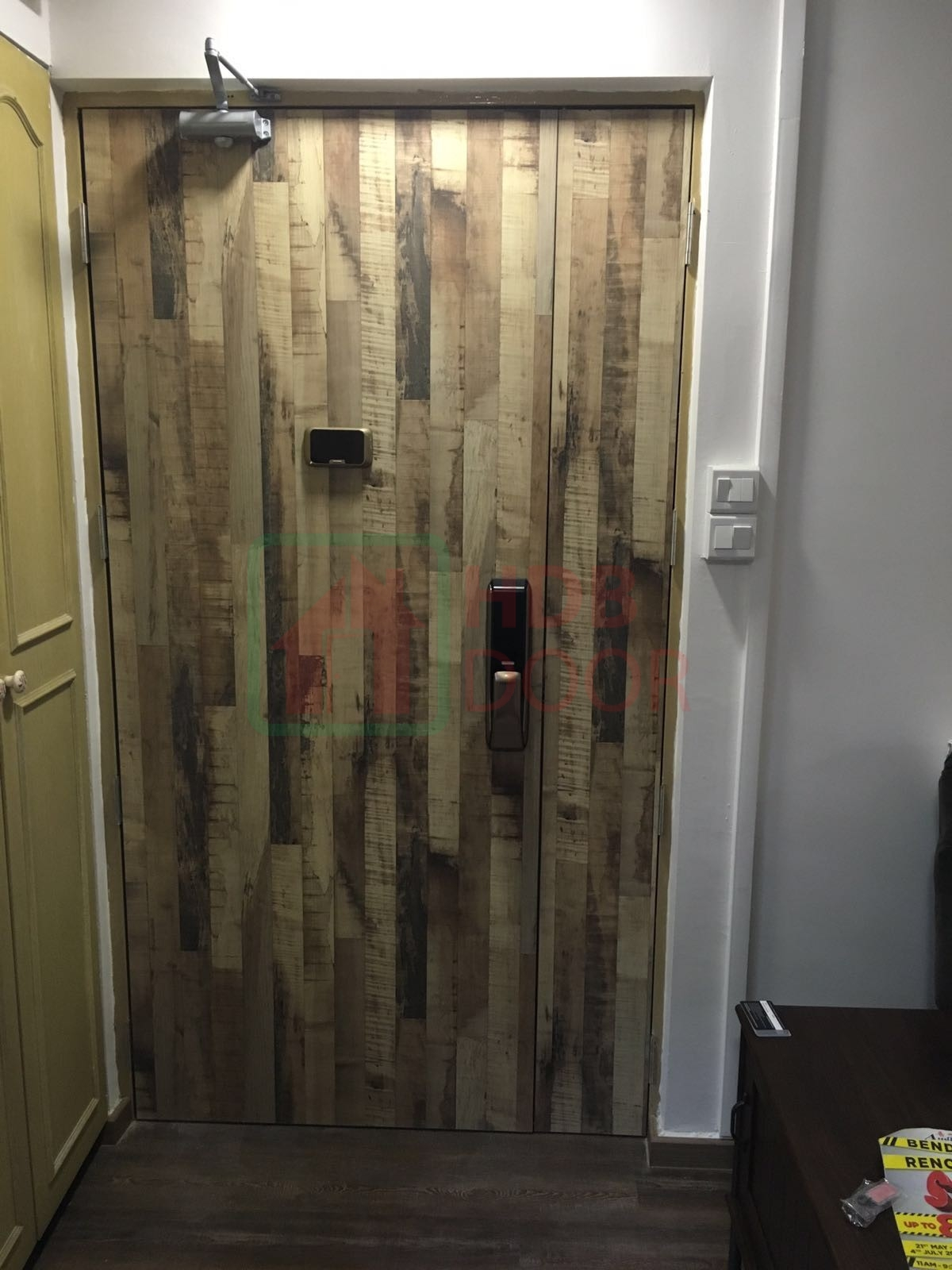 hdb laminate fire rated main door with samsung digital lock and digital door viewer