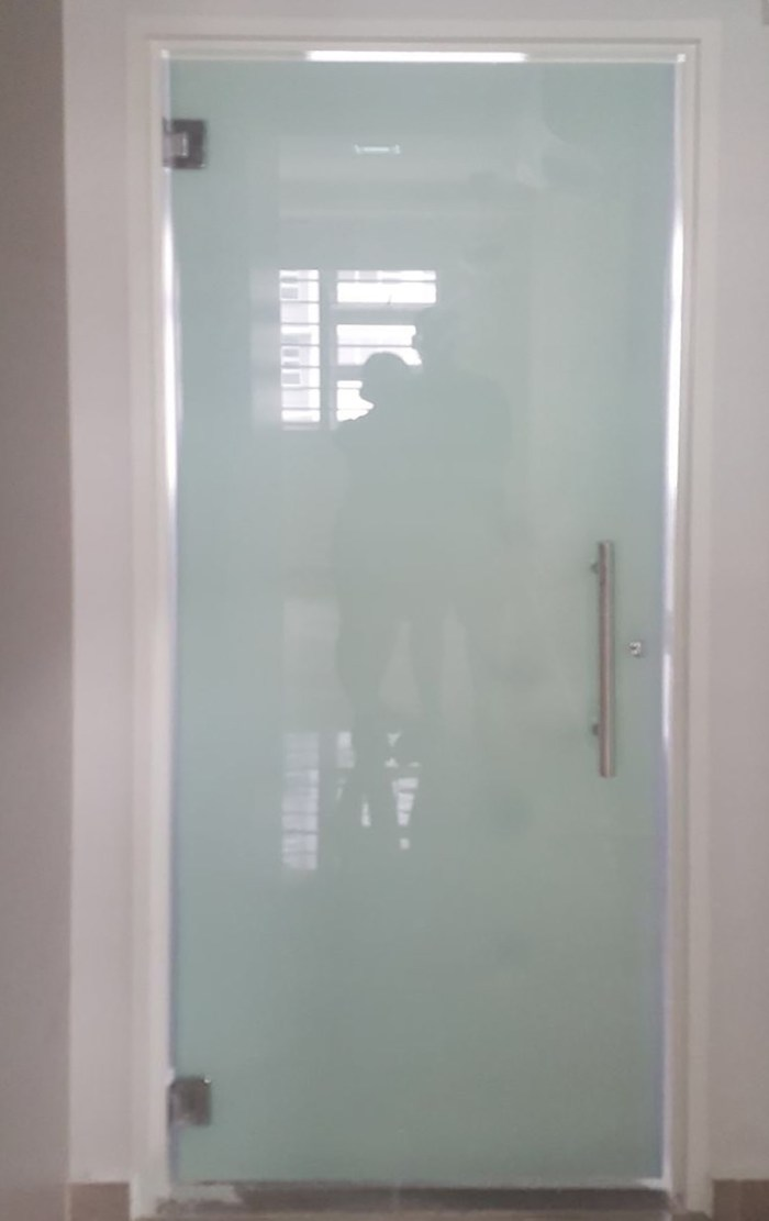 Single Swing Door With Frosted Tempered Glass