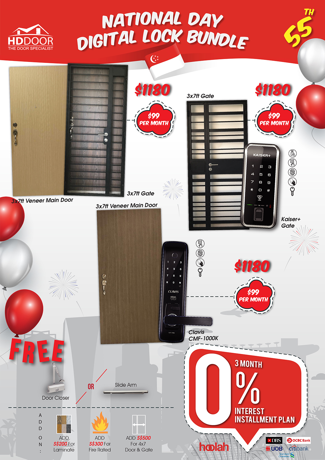 National day special door gate digital lock bundle promotion sale 2020