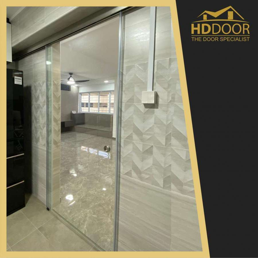 Clear Tempered Glass Sliding Door With Soft Closing