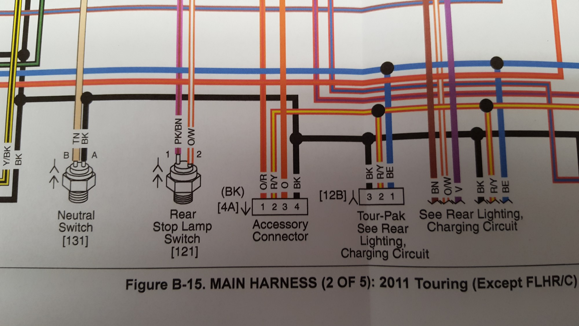hight resolution of help reading wiring schematic on accessory connector harness close up jpg installing monkey bars throttle wire problem harley davidson