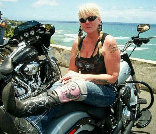 Spotlight on Lady Riders Cat One Legged Blonde  Harley