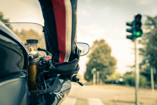 Motorcycle at red light