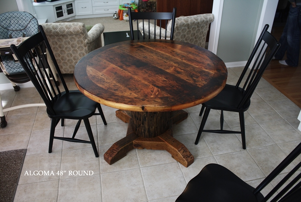 Round Reclaimed Wood Kitchen Table in Stouffville Ontario