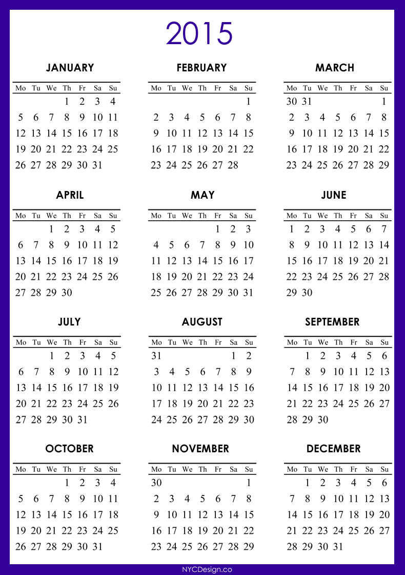 2019 and 2015 monthly calendar printable