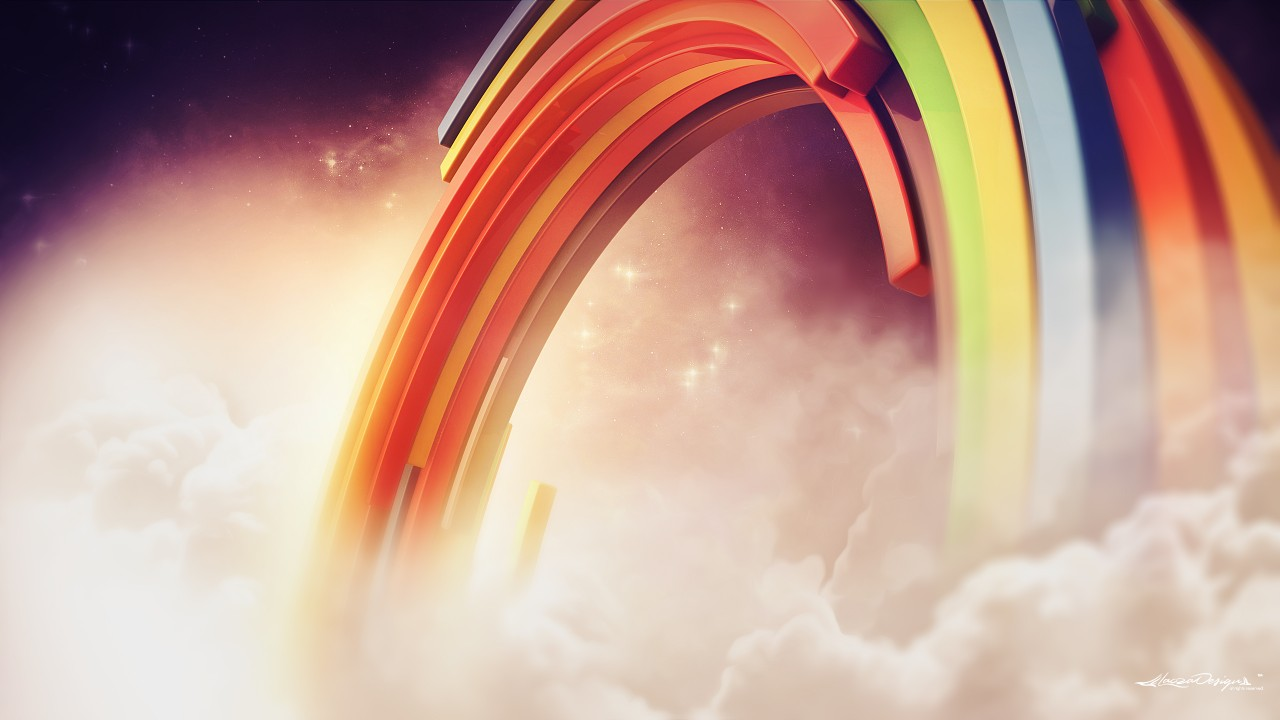 Iphone X Wallpaper With Border 3d Rainbow Clouds Wallpapers Hd Wallpapers Id 21408