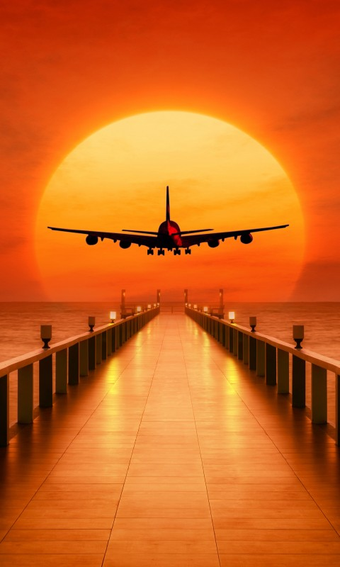 8 Bit Iphone X Wallpaper Airplane Sunset Takeoff Wallpapers Hd Wallpapers Id 24889