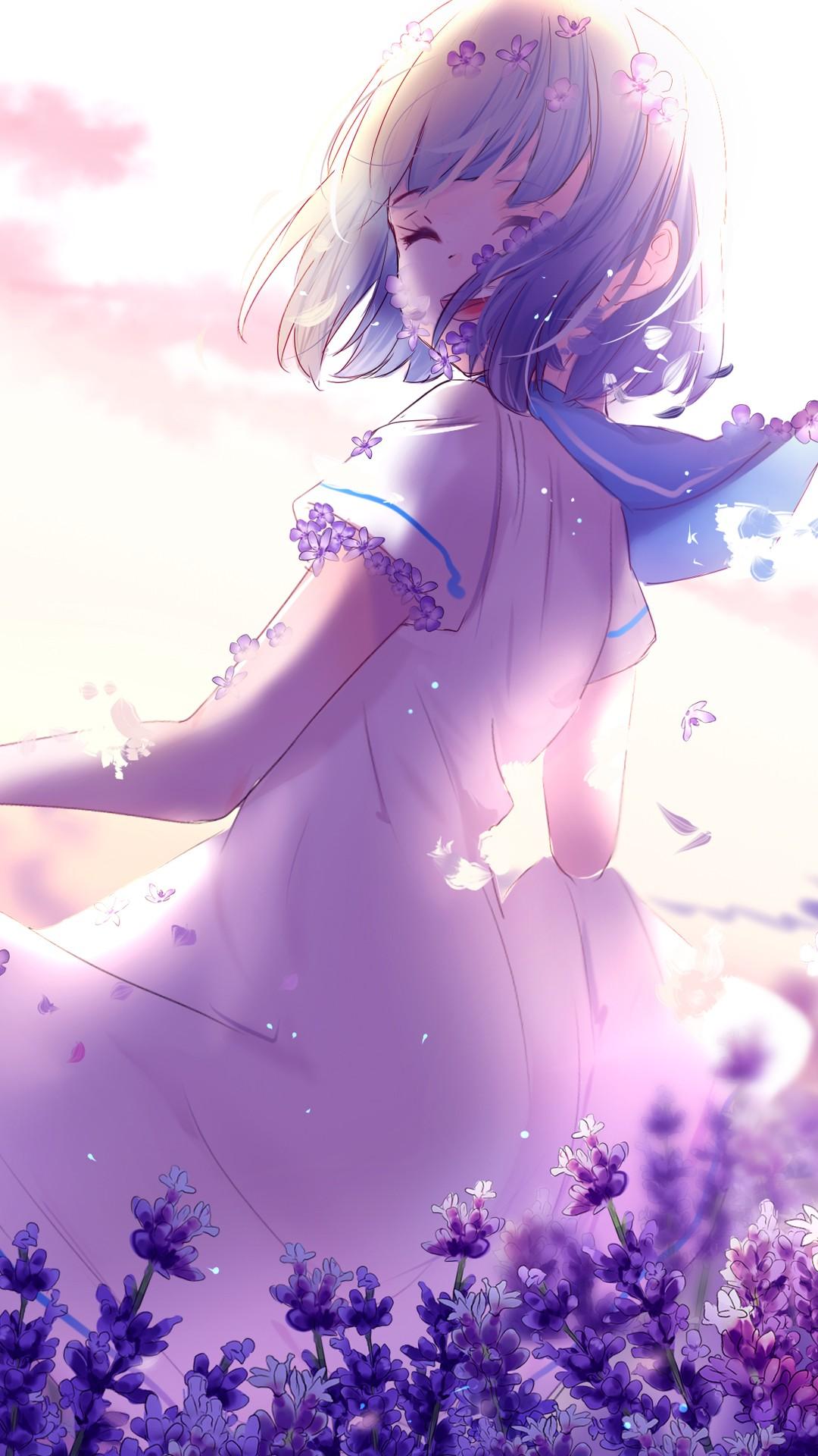 Wallpaper Iphone 5 Cute Purple Anime Girl Lavender Purple Flowers 4k Wallpapers Hd