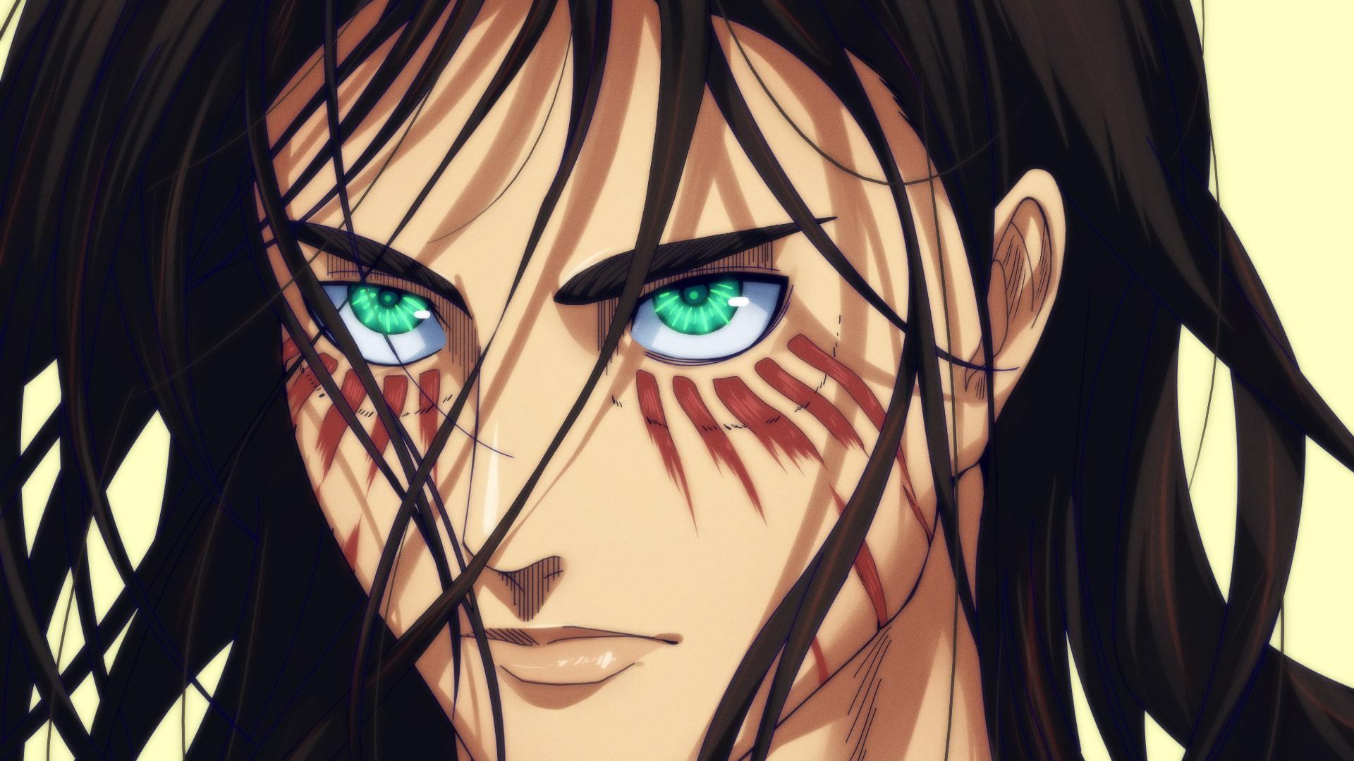 1920x1080 anime attack on titan eren yeager wallpaper. Attack Of Titan Eren Yeager With Green Eyes And Black Hair ...