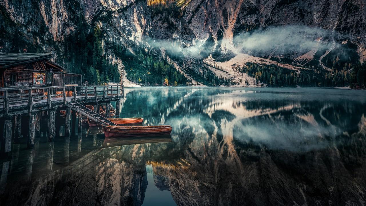 Wallpaper Hd For Ipad Pro Braies Lake Panoramic Viewin Dolomites Mountains Italy 5k