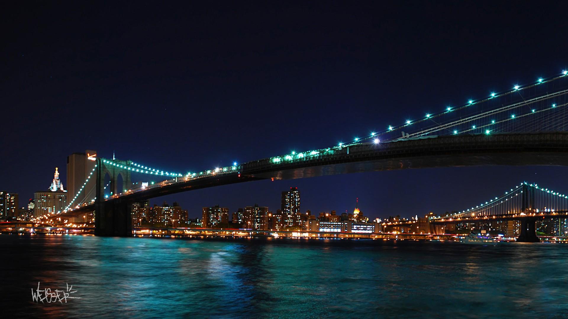 3d Moon Night Wallpaper Brooklyn Bridge Harvest Moon New York Wallpapers Hd