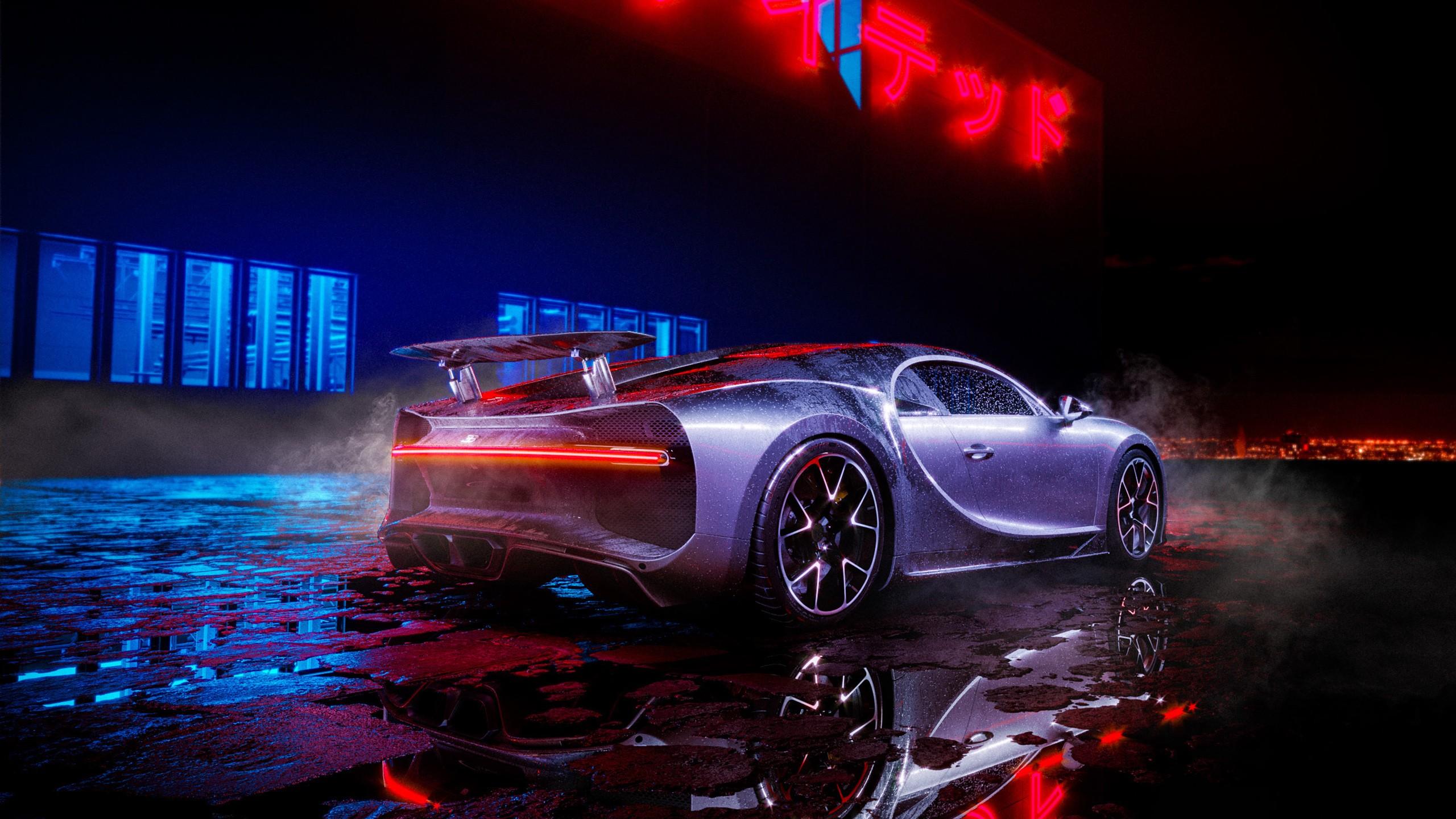Hd Car Wallpapers For Pc 1024x768 Bugatti Chiron Neon Lights Wallpapers Hd Wallpapers Id