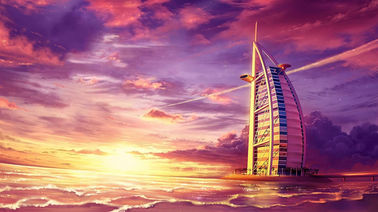 Full Hd Cute Love Wallpaper Burj Al Arab At Sunset Paint 4k Wallpapers Hd Wallpapers