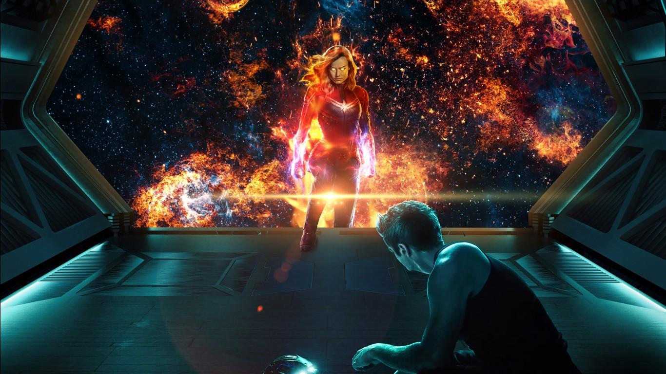 Iphone Marvel Wallpaper Captain Marvel Tony Stark In Avengers Endgame Wallpapers