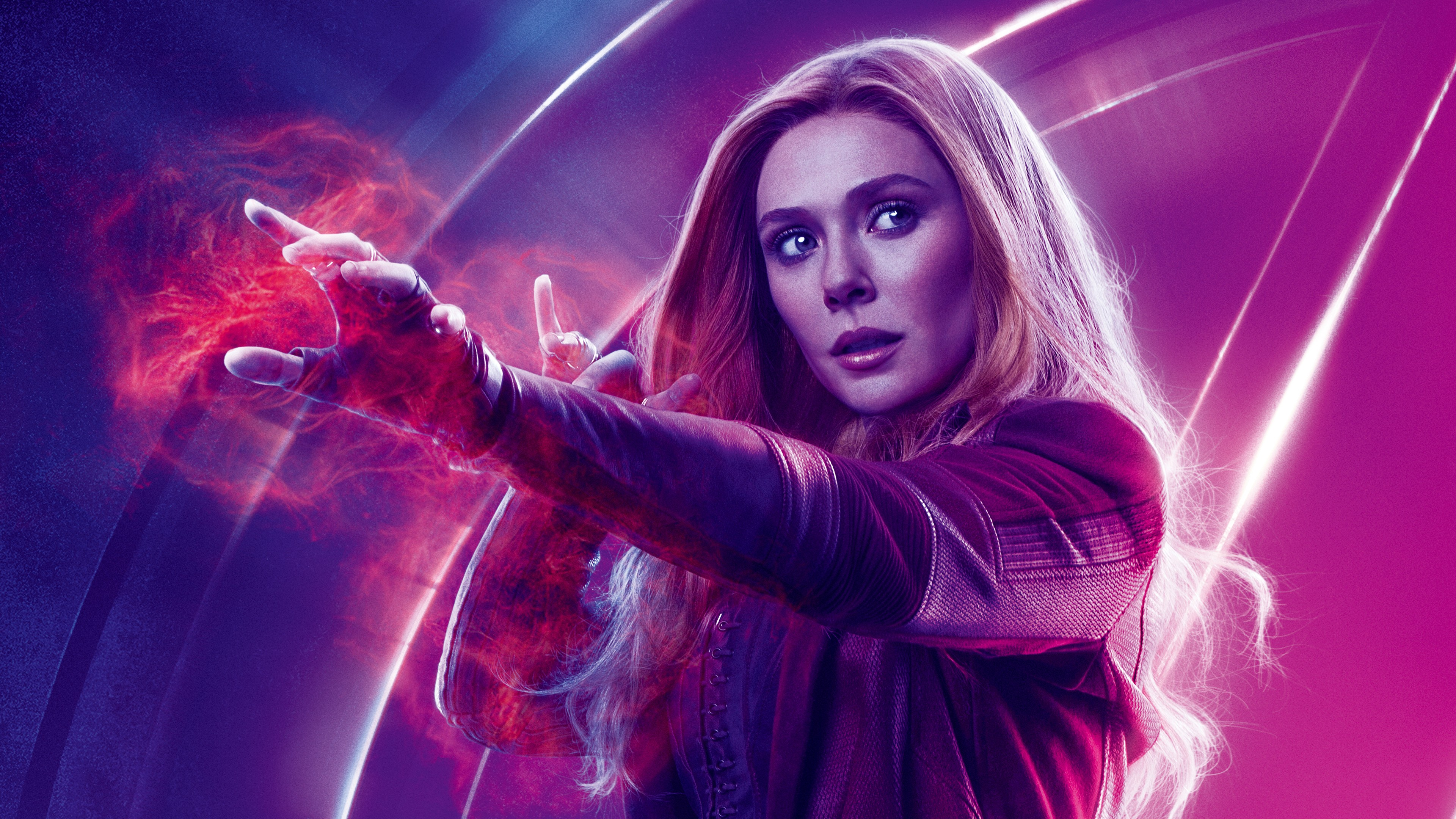 3d Wallpaper For Ipad Pro Elizabeth Olsen As Scarlet Witch Avengers Infinity War 4k