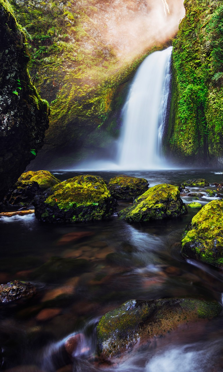 Original Wallpaper Iphone 6 Green Moss Waterfall 4k Wallpapers Hd Wallpapers Id 18535