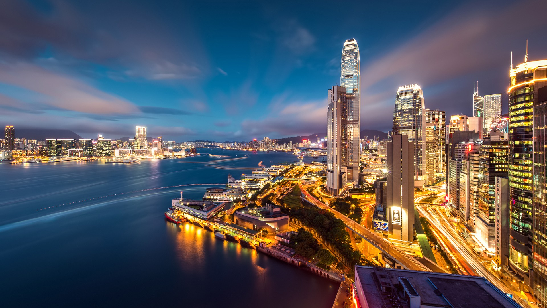 Hong Kong Harbour Night Lights Wallpapers | HD Wallpapers | ID #16033