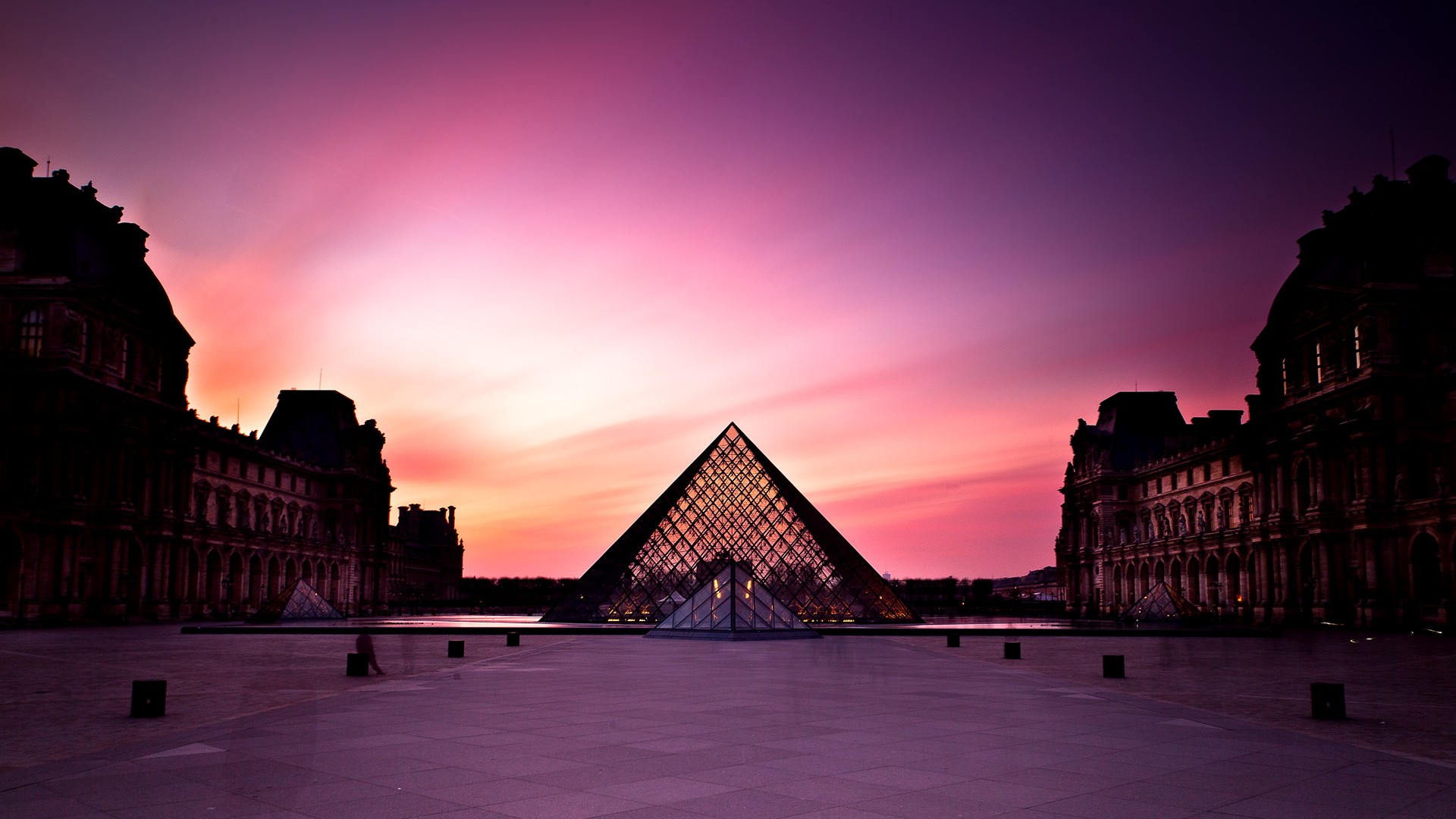 Paris Wallpaper Cute For Iphone Louvre Museum At Sunset Wallpapers Hd Wallpapers Id 10196