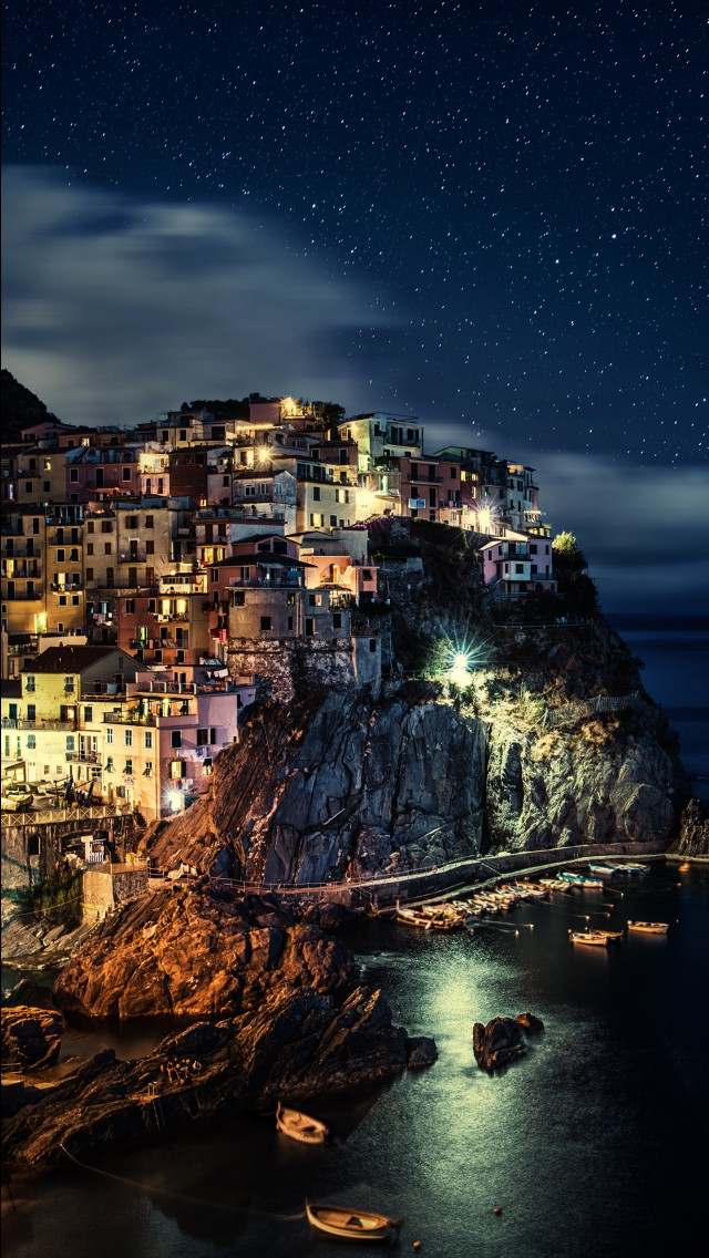Iphone X Oled Wallpaper Manarola Night Italy 4k Wallpapers Hd Wallpapers Id 28962