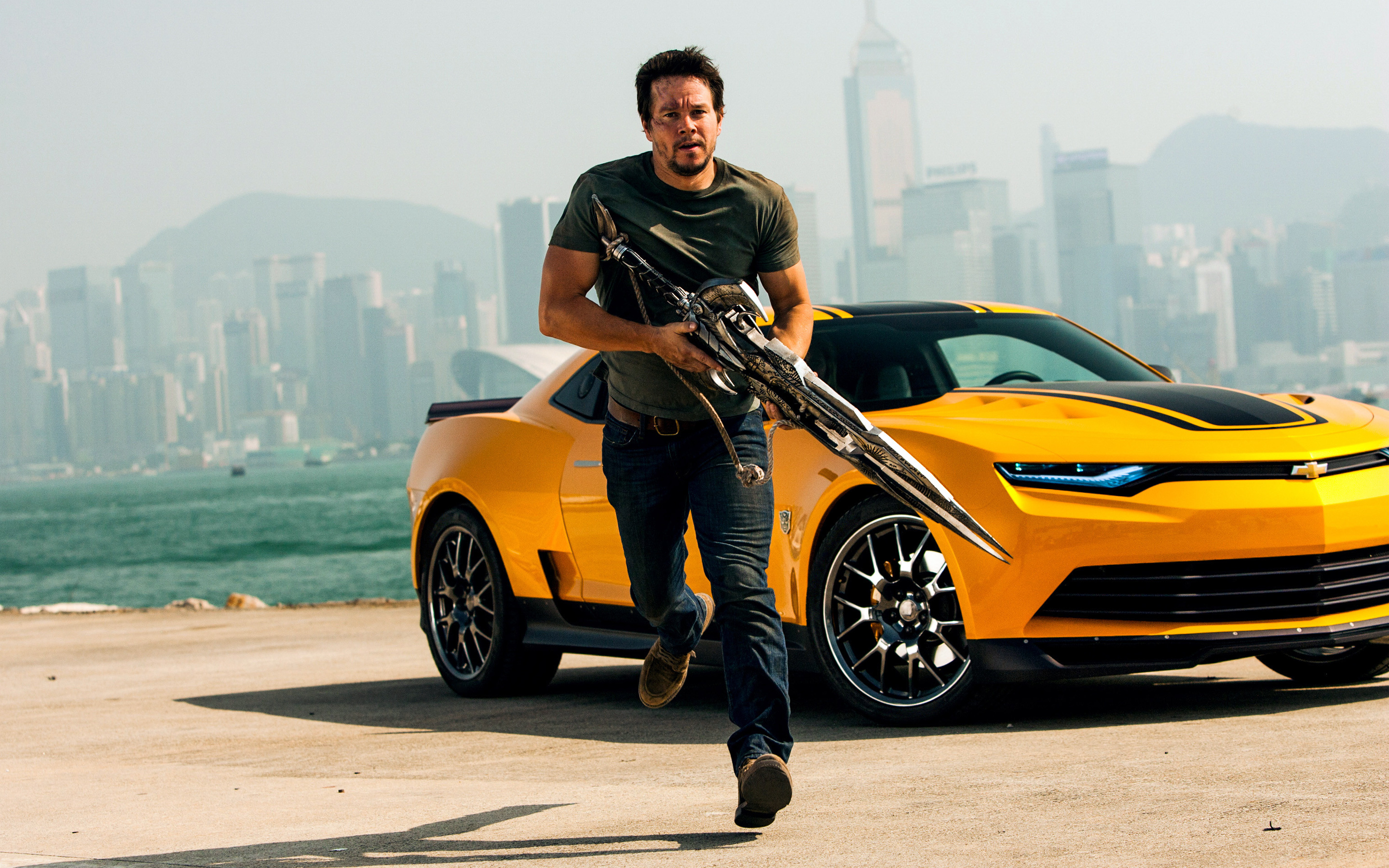 """bumblebee received a slight update for """"transformers: Mark Wahlberg In Transformers 4 Wallpapers Hd Wallpapers Id 13618"""