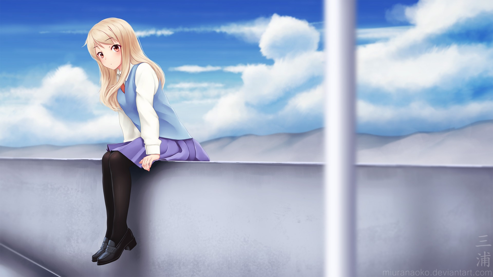 Cute Lonely Girl Hd Wallpaper Mashiro Shiina Anime Wallpapers Hd Wallpapers Id 17853