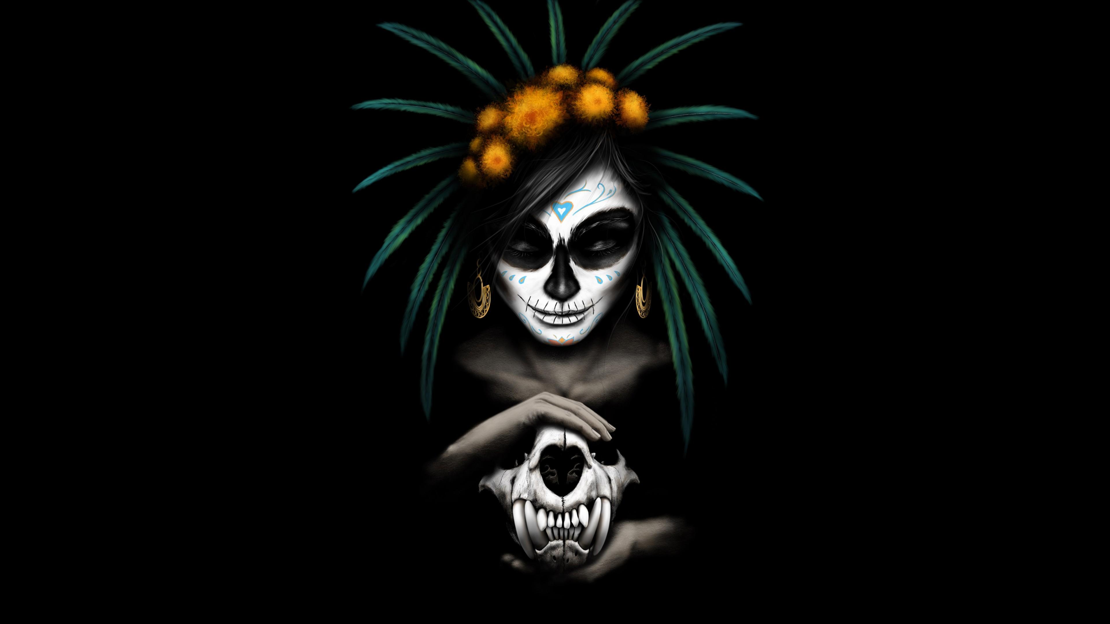 Sugar Skull Girl Wallpaper Mexican Catrina 5k Wallpapers Hd Wallpapers Id 25140