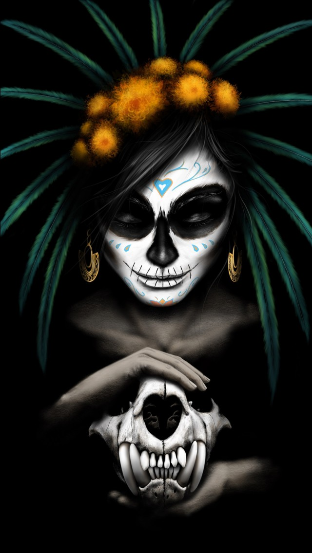 Sugar Skull Iphone Wallpaper Mexican Catrina 5k Wallpapers Hd Wallpapers Id 25140