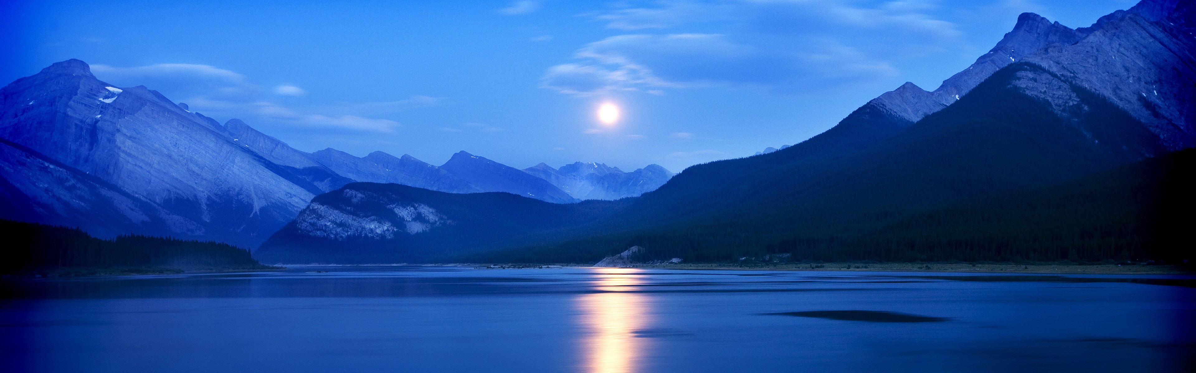 Iphone 5 Panorama Wallpaper Moonrise Spray Lakes Reservoir Alberta Canada Wallpapers
